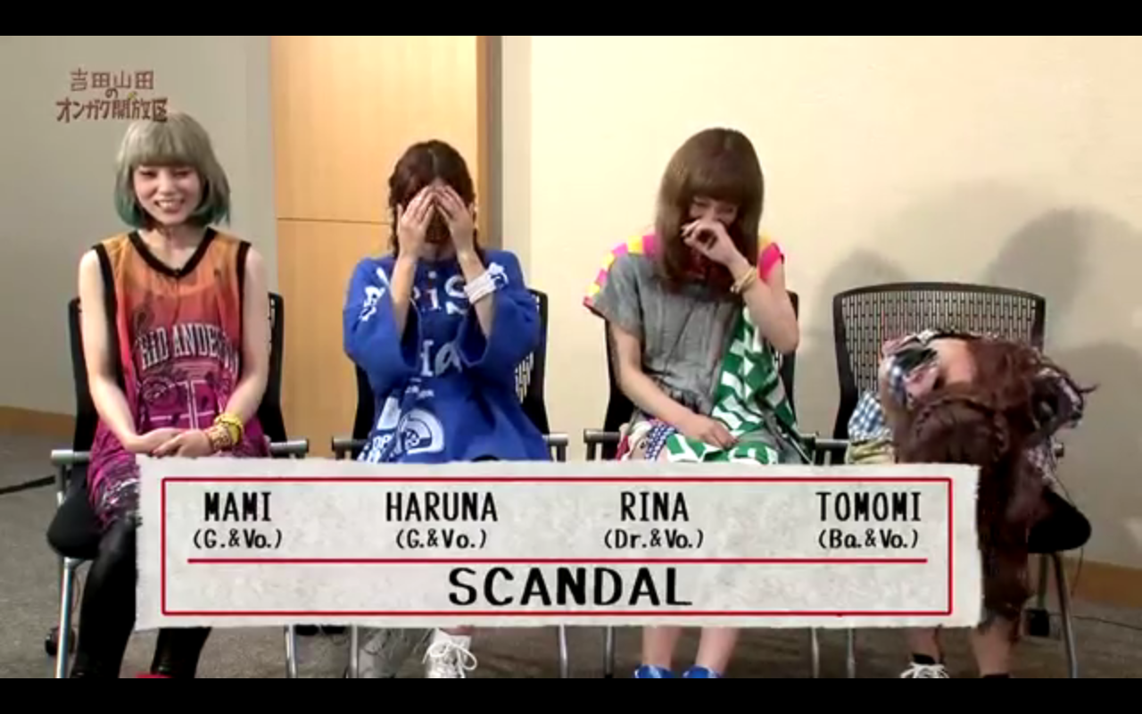 SCANDAL on TVK 'Yoshida Yamada no Ongaku Kaihouku' avec Takei Sou (TOMOMI Part)